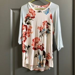 Chris & Carol Floral Top with Striped Sleeves